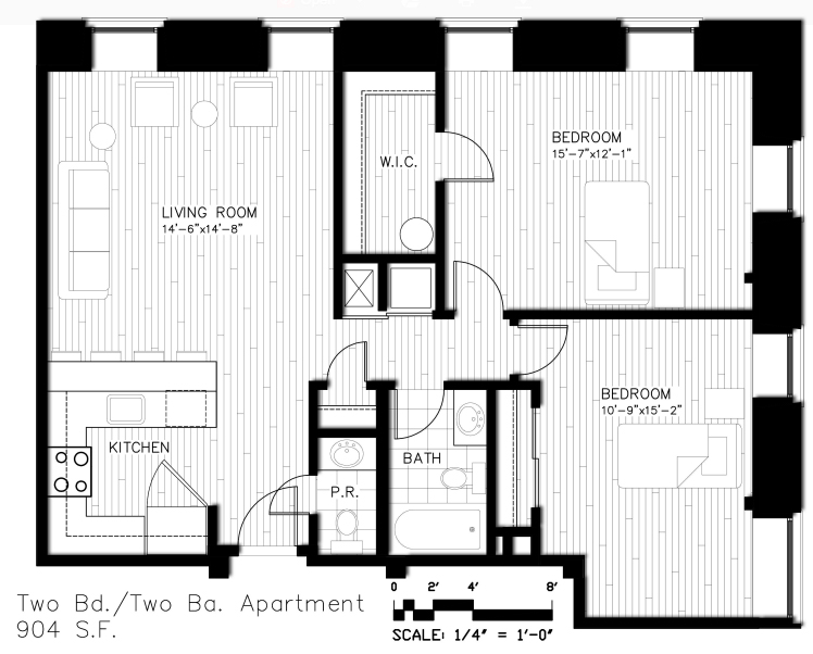 Two BD / Two BA - 905 S.F.
